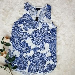 NWT The Limited Blue and White Paisley Tank